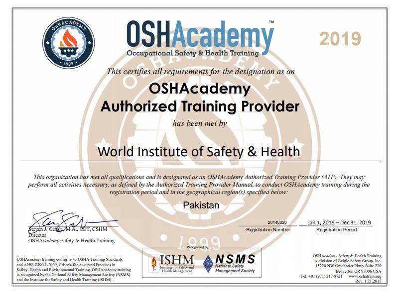 OSHACademy ATP Certificate - WISH