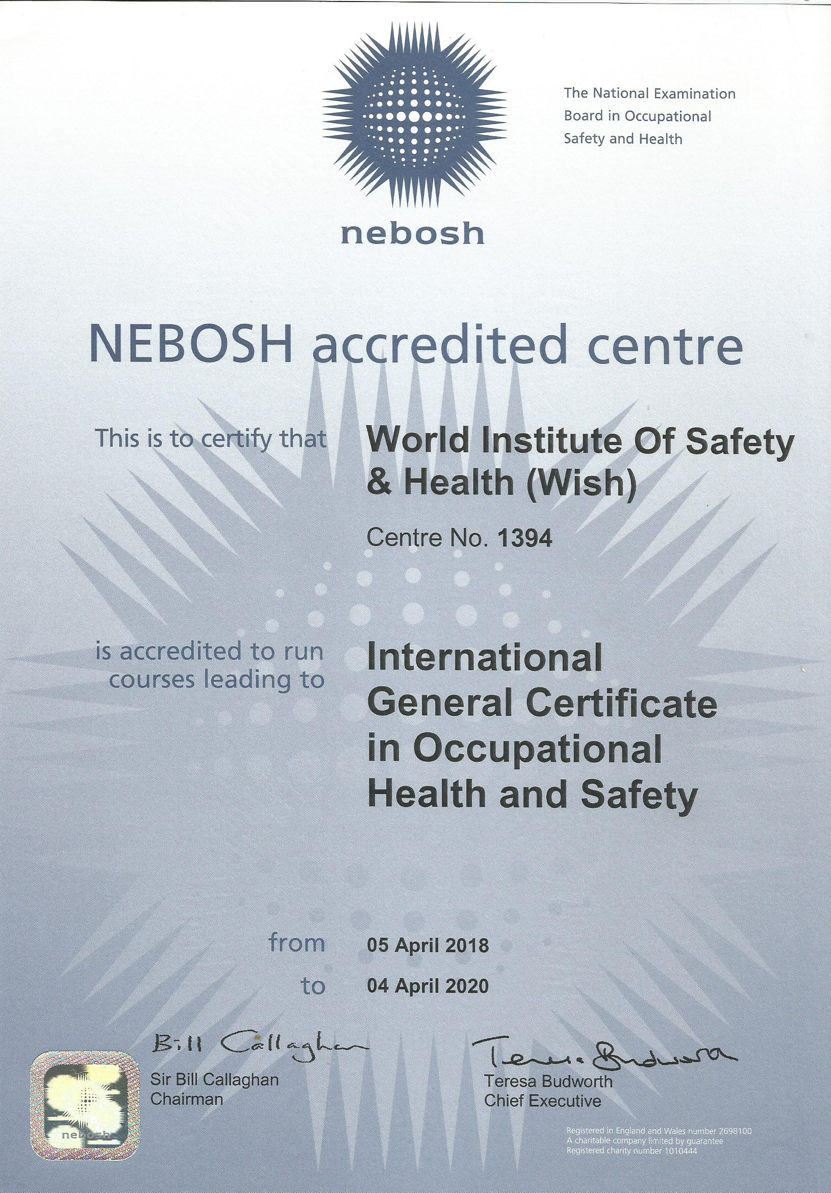 NEBOSH IGC UK License - WISH